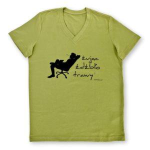 koszulka męska oliwkowa z czarnym nadrukiem Żując Źdźbło Trawy v-neck