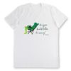 biała koszulka męska z kolorowym nadrukiem Żując Źdźbło Trawy v-neck