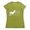 koszulka damska (oliwkowa) z białym nadrukiem Żując Źdźbło Trawy v-neck