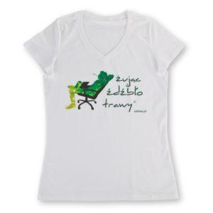 koszulka damska (biała) z kolorowym nadrukiem Żując Źdźbło Trawy v-neck