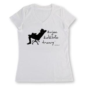 koszulka damska (biała) z czarnym nadrukiem Żując Źdźbło Trawy v-neck